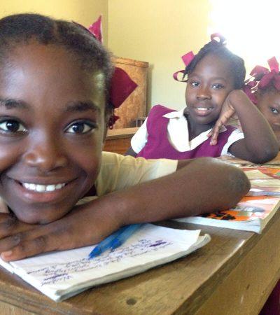 Girls doing schoolwork